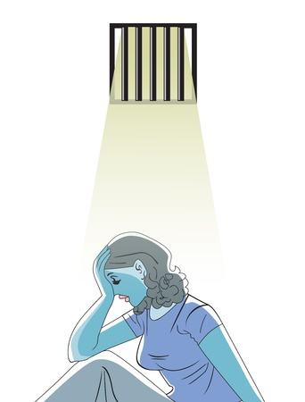 inmate: Sad woman in prison, vector illustration Illustration