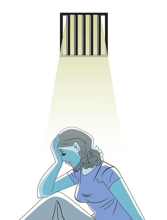 jail cell: Sad woman in prison, vector illustration Illustration