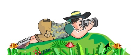 Safari hunter, lying on the ground and looking through binoculars, vector illustration