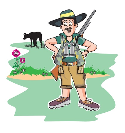 hunter man: Safari hunter, standing with a gun and a wolf in the background, vector illustration