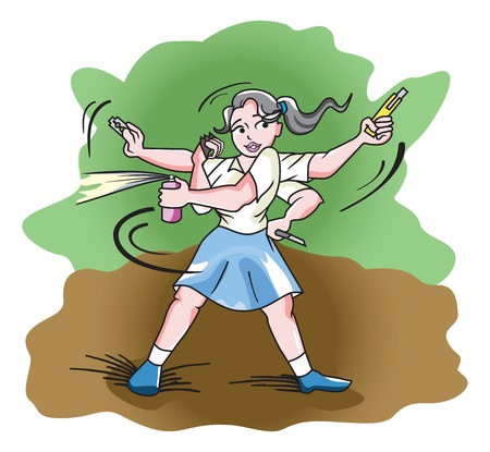 Self-Defense, Girl in a Blue Skirt using a Blade, Pepper Spray, Knife, Cutter, and Knuckles, vector illustration