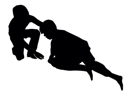 Good samaritan, lending a helping hand to an injured person, vector illustration