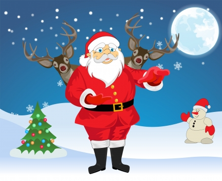 Santa Claus and 2 Reindeer in blue and white background with christmas tree, snowman, snowflakes and moon, vector illustration