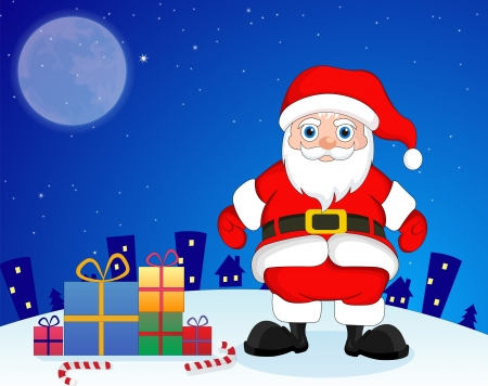 Santa Claus in the city in blue and white background with presents, candy canes, stars and moon, vector illustration