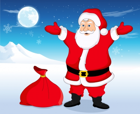 Santa Claus with red sack in blue and white background with snowflakes, stars, moon and mountain, vector illustration