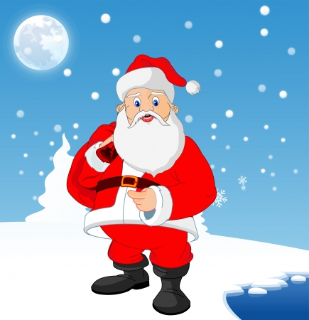 frozen lake: Santa Claus near a frozen lake with blue and white background with snow, moon and pine trees, vector illustration Illustration