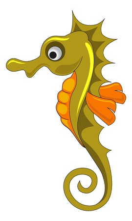 fisheries: Seahorse, Gold and Orange, vector illustration