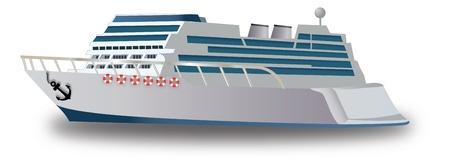 Cruise Ship, grijs en blauw, met Anker en zwemvesten, vectorillustratie Stock Illustratie