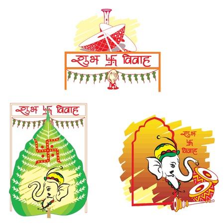 Shubh Vivah, boda india, la hoja de betel simboliza la prosperidad, el elefante simboliza la sabiduría, la Dhol Drums simboliza Música festera, ilustración vectorial