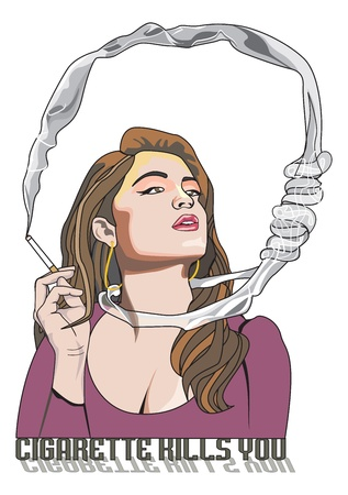 Cigarette Kills You, woman smoking, noose around the neck, vector illustration