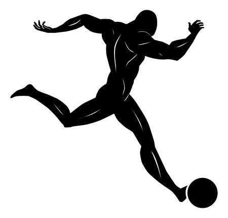 kicking ball: Soccer, Black Silhouette of a Man, Kicking a Ball, vector illustration