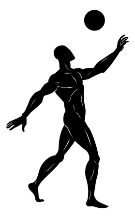 heading the ball: Soccer, Black Silhouette of a Man, Heading a Ball, vector illustration