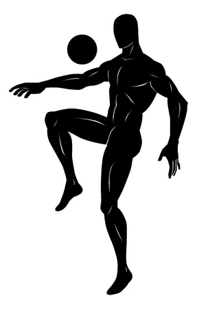 juggle: Soccer, Black Silhouette of a Man, Juggling a Ball, vector illustration