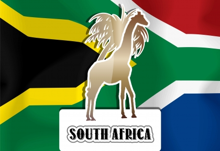 south african flag: South Africa, South African flag, giraffe and palm tree , vector illustration