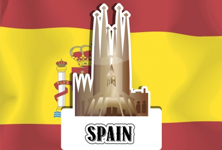 Spain, Spanish Flag, Sagrada Familia Basilica, vector illustration