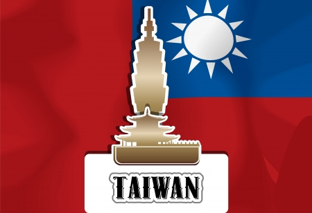 Taiwan, Taiwanese flag, temple, vector illustration