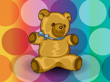 baby playing toy: Teddy Bear, with blue ribbon, circles background, vector illustration