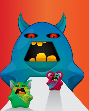 Gremlin Creatures, Monster Teddy Bears, vector illustration Vector
