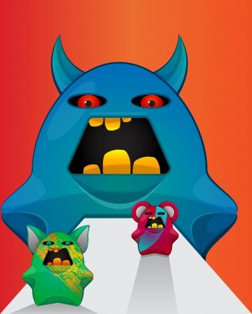 lifeform: Gremlin Creatures, Monster Teddy Bears, vector illustration