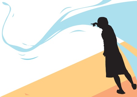 there: Over there, man pointing to a distance, vector illustration