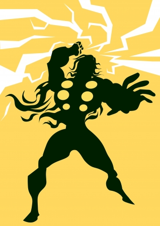 asgard: Thor, Black Silhouette of a Man, with Lightning Bolts, Yellow Background, vector illustration