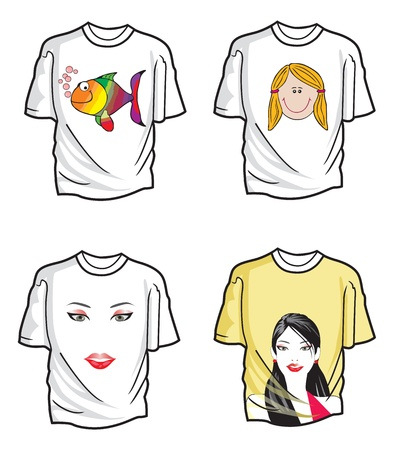 T-shirts, Various Designs, Four, vector illustration