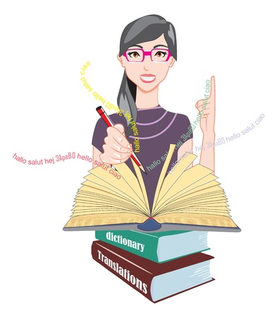 translator: Word Meanings and Translations, Girl with Glasses with Reference Books, Holding a Red Pencil, vector illustration