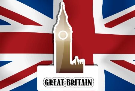 イギリス、イギリス、英国の旗、ウェストミン スター宮殿時計塔、ベクトル イラスト