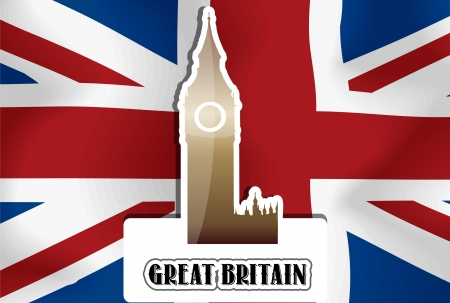 United Kingdom, Great Britain, British Flag, Westminster Palace Clock Tower, vector illustration