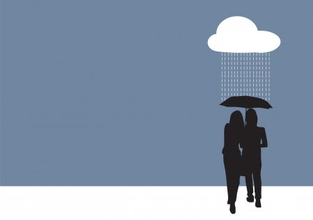 couples outdoors: Couple sharing an umbrella, under the rain, vector illustration