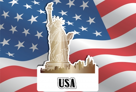 yankee: USA, United States of America, American Flag, Statue of Liberty, New York City, vector illustration Illustration