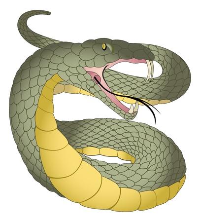 ヘビ、緑と黄色、牙、分岐した舌、ベクトル イラスト
