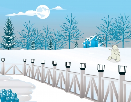 Cold Winter Night, View from a Lamp-lighted Porch, Polar Bear in View, vector illustration