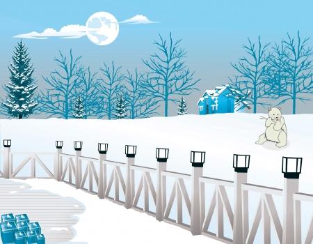 Nuit froide d'hiver, Vue d'un porche Lampe-éclairé, ours polaire en vue, illustration vectorielle Banque d'images - 22067005