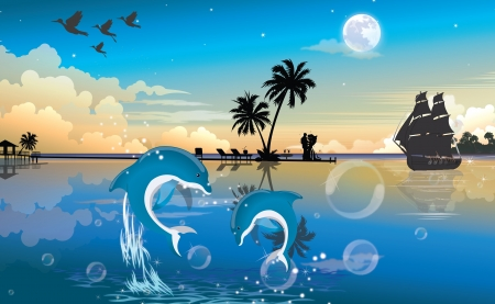 Moonlit Night at the Beach, with Blue and White Dolphins, Couple, Bubbles, Vintage Ship, vector illustration Vector