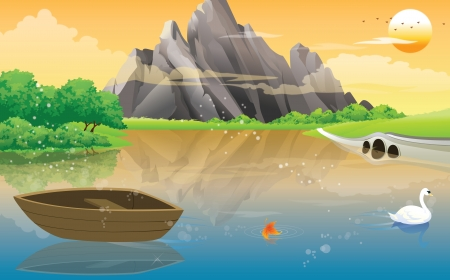 swans: Boat on the Lake, with White Swan, Rocky Mountain View, vector illustration Illustration