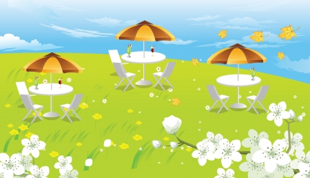 table top: Hilltop Picnic, with White Flowers, View of the Clouds, Maple Leaves, vector illustration Illustration