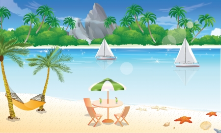 Day at the Beach, Fun in the Sand, Sparkling Water, Tropical Island Paradise, vector illustration