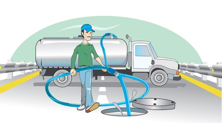 dumping: Water Dumping, Open Manhole, Man with a Hose, Truck in Background, vector illustration