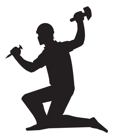 Mine worker, using a chisel and hammer, black silhouette, vector illustration