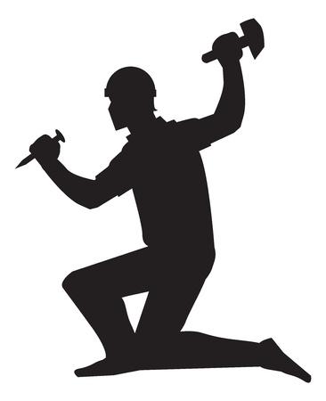 cincel: Trabajador de mina, con un cincel y un martillo, silueta negro, ilustraci�n vectorial