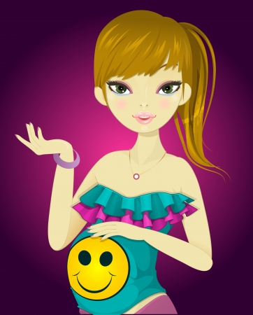 Pregnant Girl, in Colorful Outfit, Holding Her Tummy, vector illustration