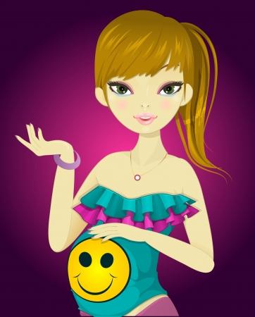 Chica embarazada, en colorido traje, sosteniendo su vientre, ilustración vectorial Foto de archivo - 22067018