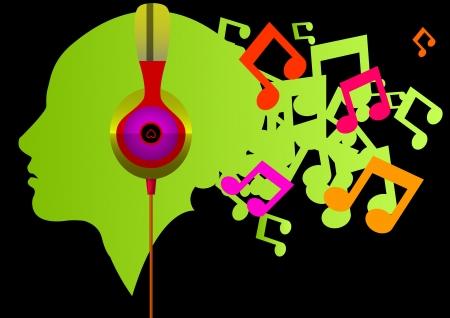 Listening to music, vector illustration