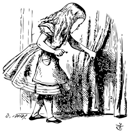 Alice in Wonderland. Alice is looking behind a curtain to reveal a hidden door: Alice's Adventures in Wonderland. Illustration from John Tenniel, published in 1865.