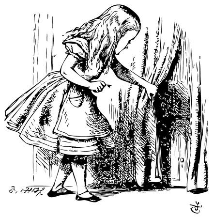 traje: Alice no Pais das Maravilhas. Alice está olhando por trás de uma cortina para revelar uma porta secreta: As aventuras de Alice no País das Maravilhas. Ilustração de John Tenniel, publicado em 1865.