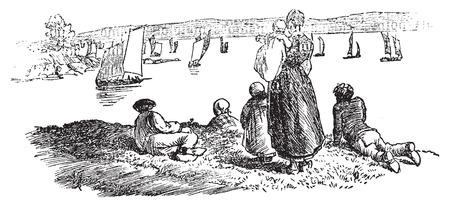 sardine: The return of the sardine fishery in Douarnenez, vintage engraved illustration. Journal des Voyages, Travel Journal, (1879-80).