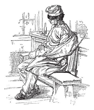 Nap, vintage engraved illustration. Journal des Voyages, Travel Journal, (1879-80). Ilustração