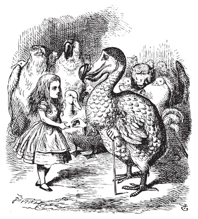 Alice in Wonderland. Alice and the Dodo. Then they all crowded round her once more, while the Dodo solemnly presented the thimble.Alice's Adventures in Wonderland. Illustration from John Tenniel, published in 1865. Illustration