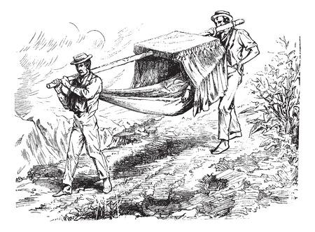 sirvientes: La hamaca, ilustración de la vendimia grabado. Journal des Voyages, Diario de viaje, (1879-1880).